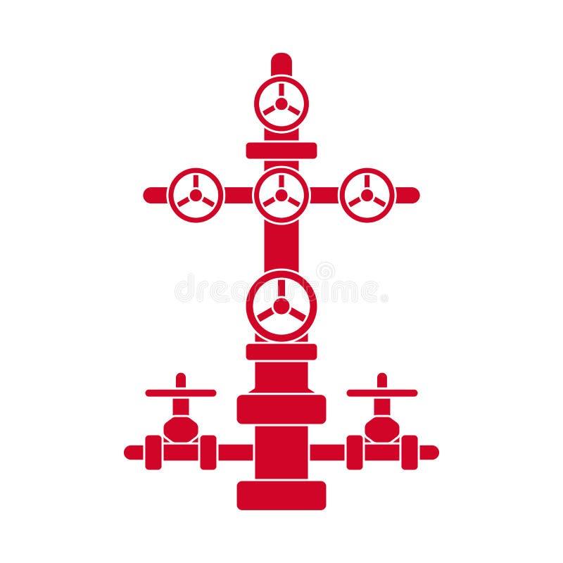 Graficzna czerwona płaska wektorowa wellhead ikona odizolowywająca dla przemysłu naftowego; wektorowy choinka znak dla ropa i gaz ilustracji