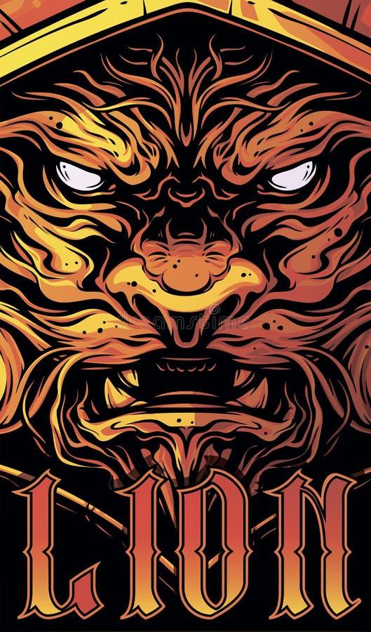 Graficzna dekoracyjna gniewna lew głowa z tekstem royalty ilustracja