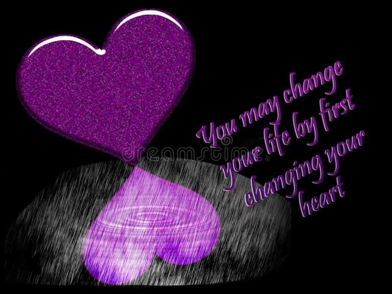 Graficzna ilustracja czarny tło z purpurowymi sercami royalty ilustracja
