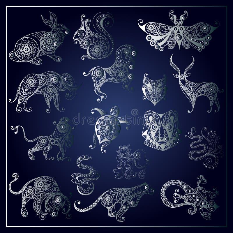 Graficzna ilustracja dziki animals_set 2 ilustracji