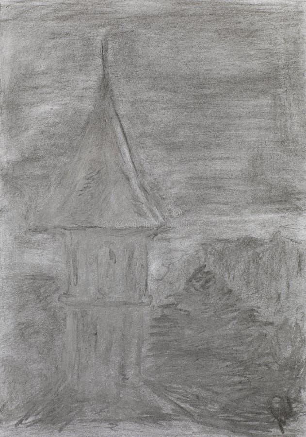 Graficzna ilustracja kościół zdjęcie stock