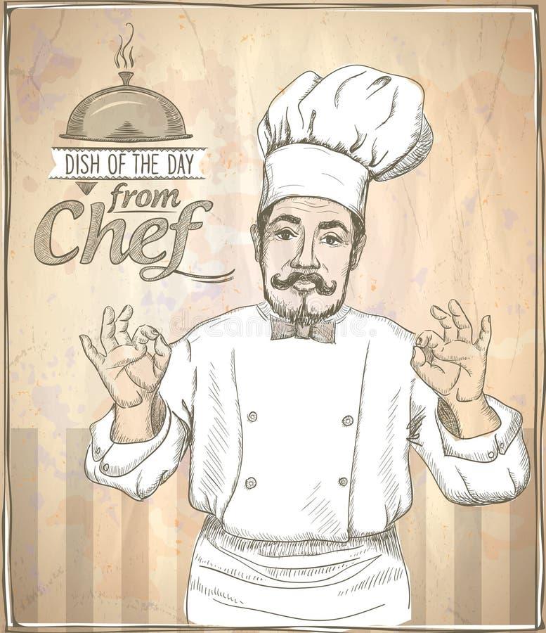 Graficzna ilustracja szefa kuchni seansu kucbarski ok royalty ilustracja