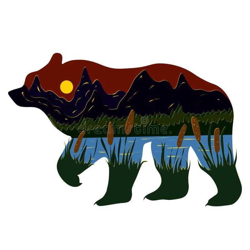 Graficzna ilustracja w postaci sylwetki natura wśrodku i niedźwiedź Wieczór krajobraz jezioro, góry royalty ilustracja