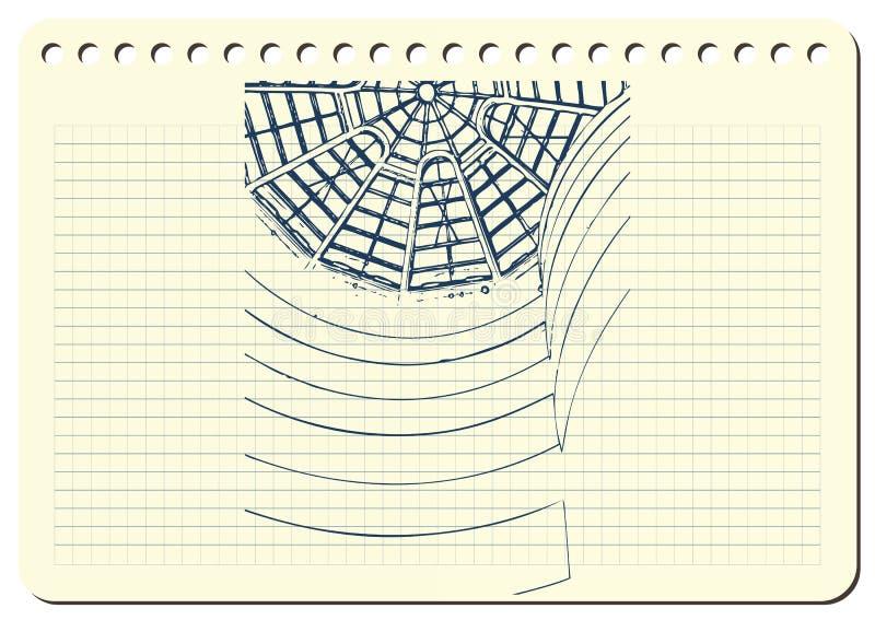 Graficzna ilustracja z dekoracyjną architekturą 1 royalty ilustracja