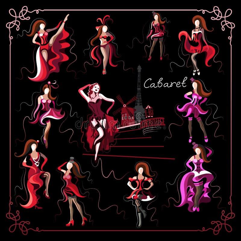 Graficzna ilustracja z kabaretowym dancer_set royalty ilustracja