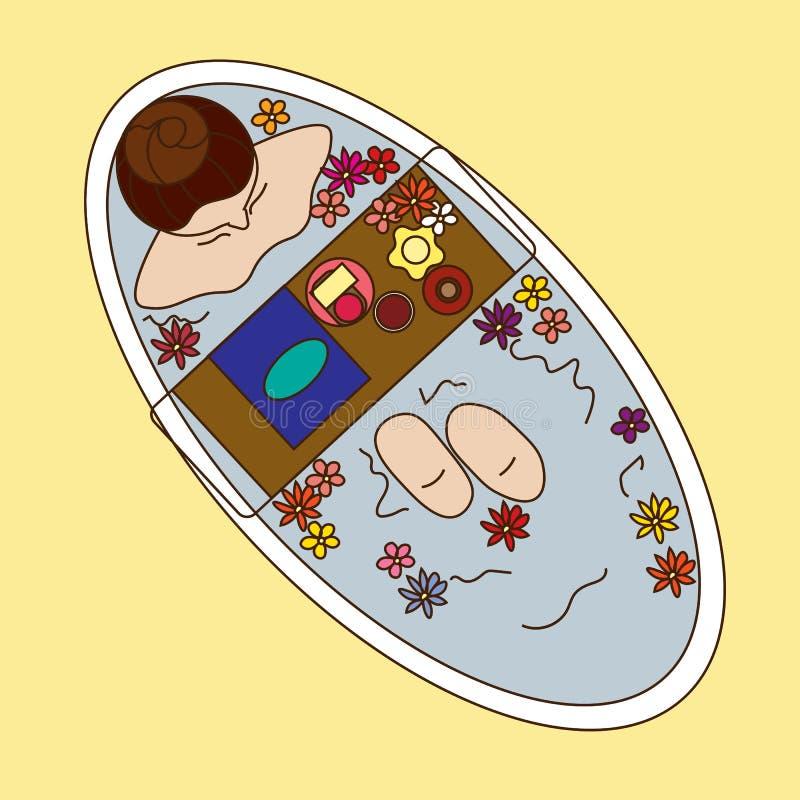 Graficzna ilustracyjna dziewczyna w łazienka widoku od above royalty ilustracja