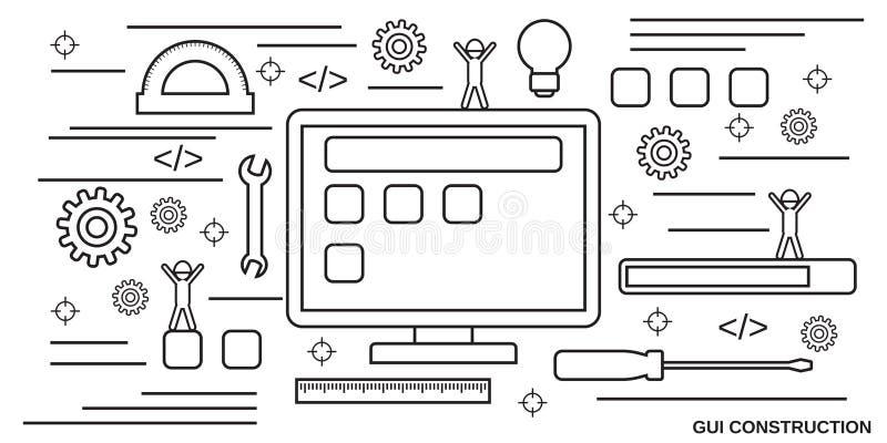 Graficzna interfejs użytkownika budowa, podaniowy rozwój, strona internetowa projekta wektoru pojęcie ilustracji
