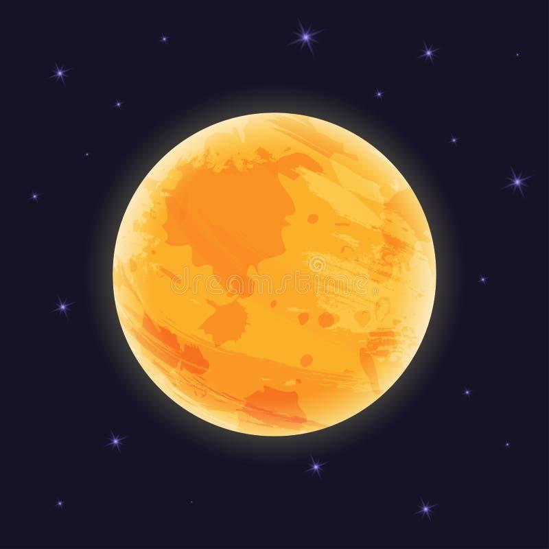 Graficzna księżyc na nocnym niebie z starlight, wektorowy illustraton, royalty ilustracja