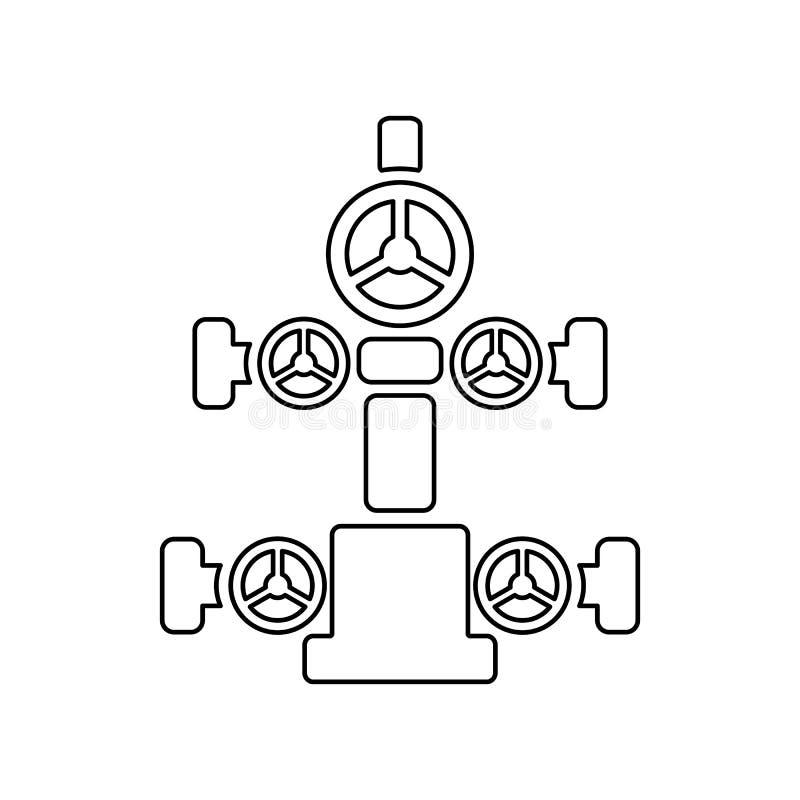 Graficzna płaska wektorowa kontur choinki ikona odizolowywająca; wellhe royalty ilustracja