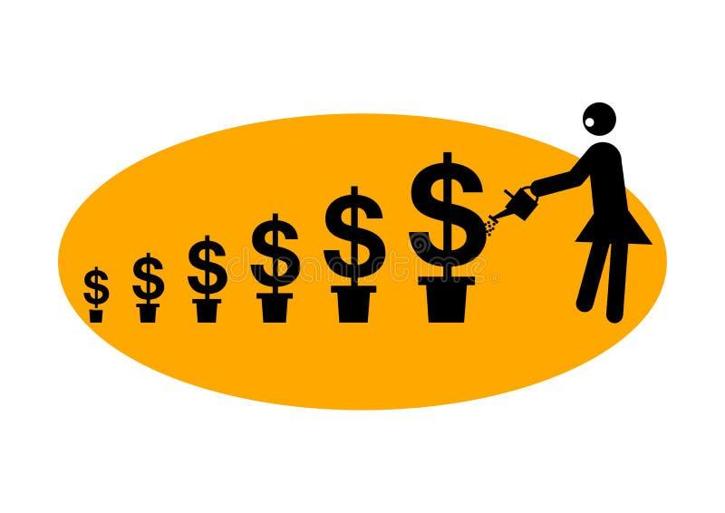 graficzna pieniądze podlewania kobieta royalty ilustracja