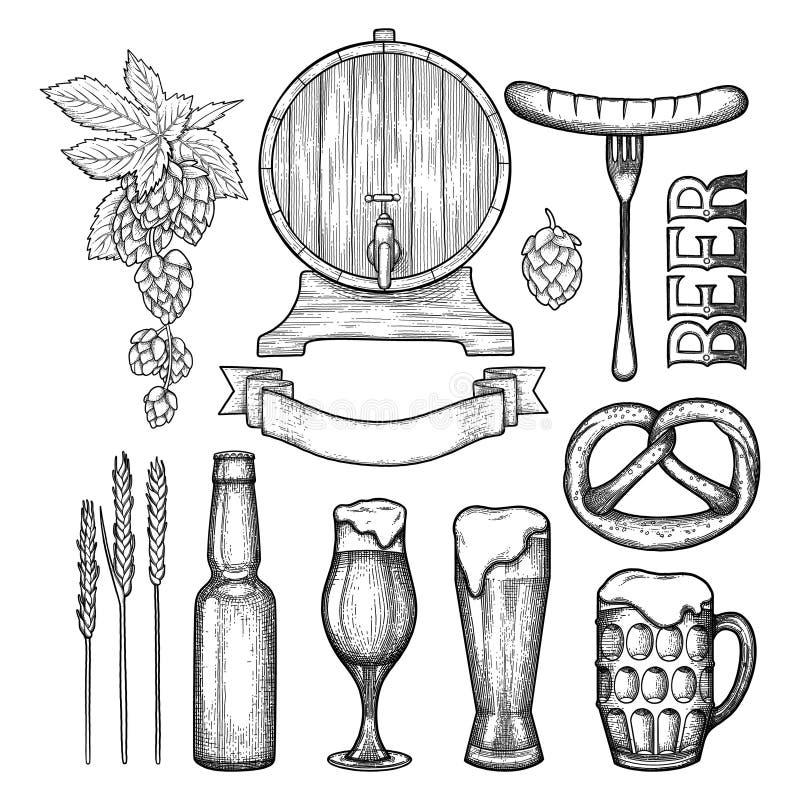 Graficzna piwna kolekcja ilustracji