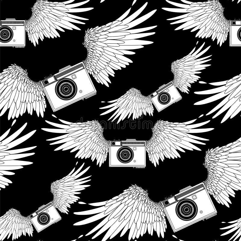 Graficzna rocznik kamera z skrzydłami royalty ilustracja