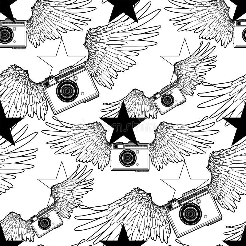 Graficzna rocznik kamera z skrzydłami ilustracja wektor