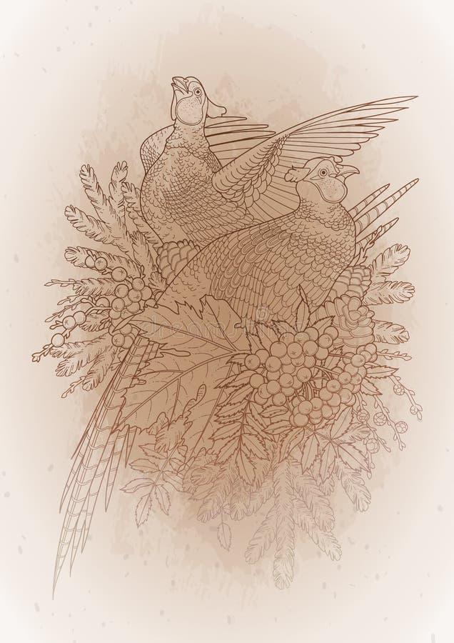 Graficzna sztuka z bażantami ilustracja wektor
