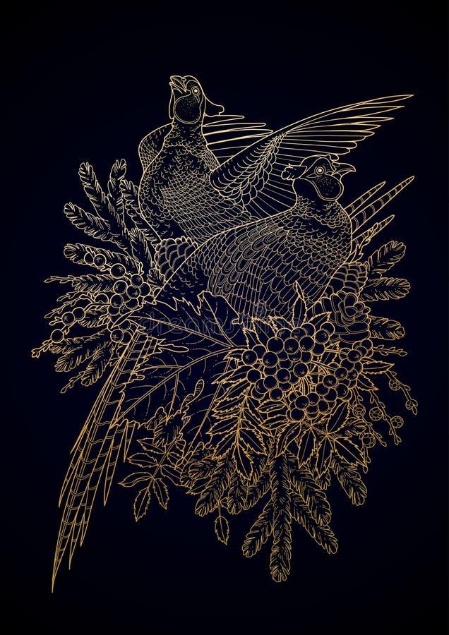 Graficzna sztuka z bażantami ilustracji