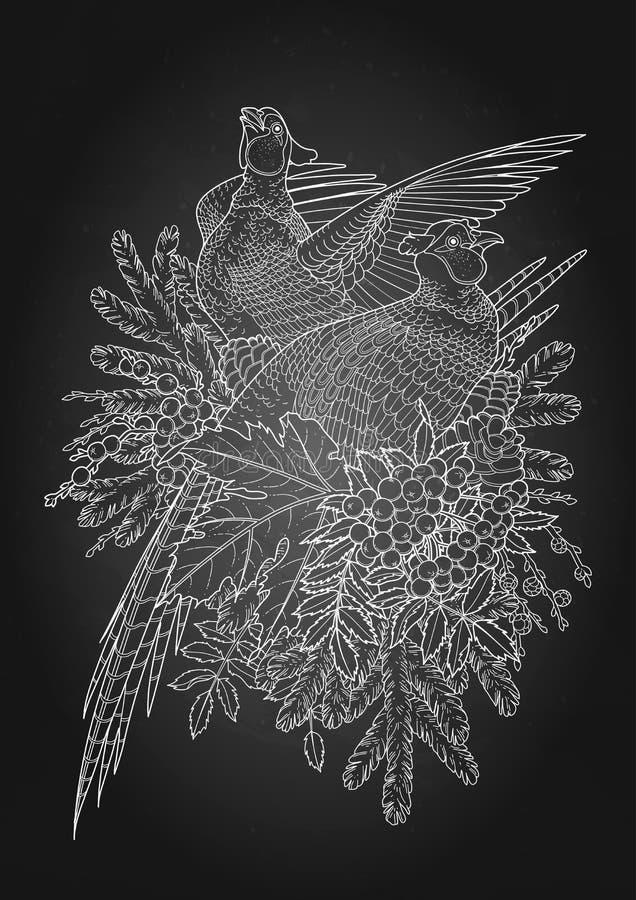 Graficzna sztuka z bażantami royalty ilustracja