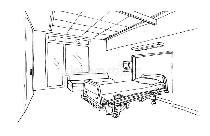 Graficznego nakreślenia szpitalny oddział, klinika pokój ilustracji