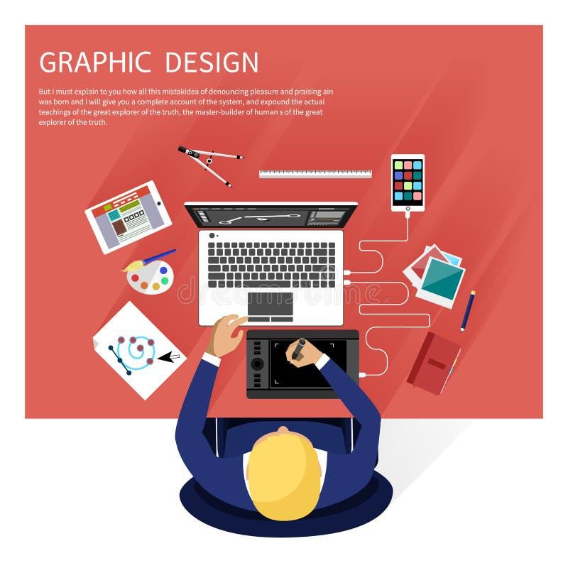 Graficznego projekta i projektanta narzędzi pojęcie ilustracji