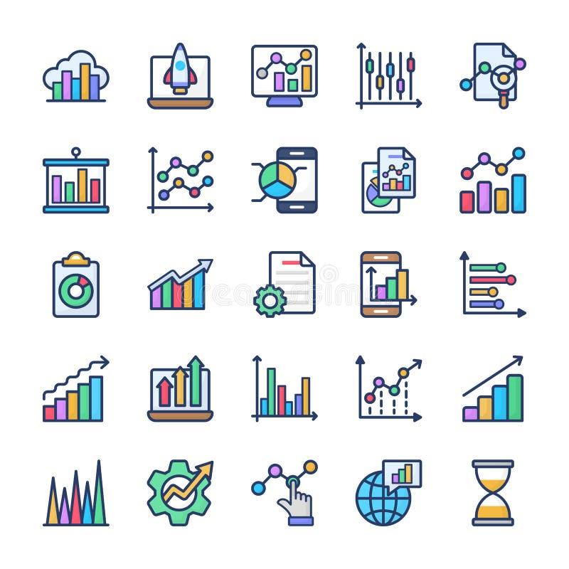 Graficznej analizy ikon Płaska paczka ilustracji