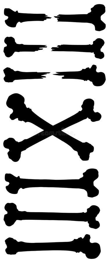 Graficznej czarny i biały sylwetki kości ludzki set ilustracji