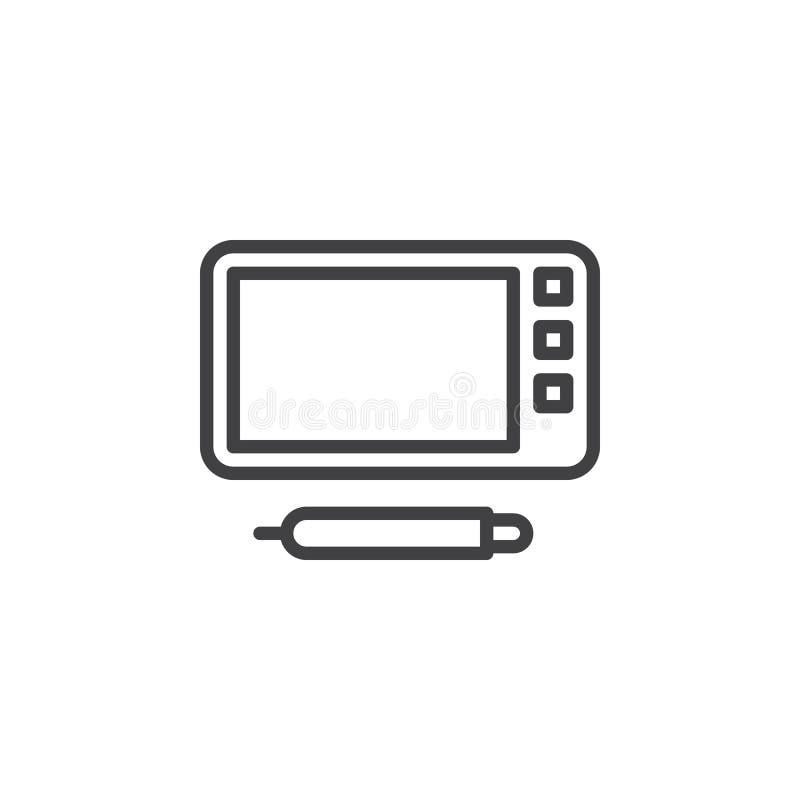 Graficznej pastylki linii ikona ilustracja wektor