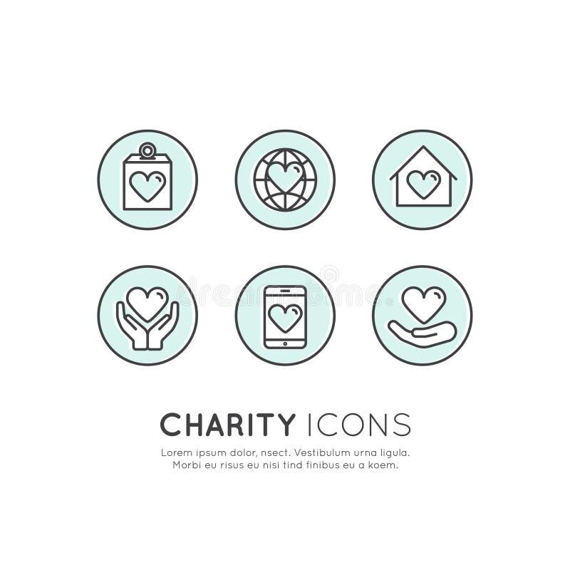 Graficzni elementy dla organizacj niekomercyjnych i darowizny Centre Gromadzi fundusze symbole, Crowdfunding projekta etykietka royalty ilustracja