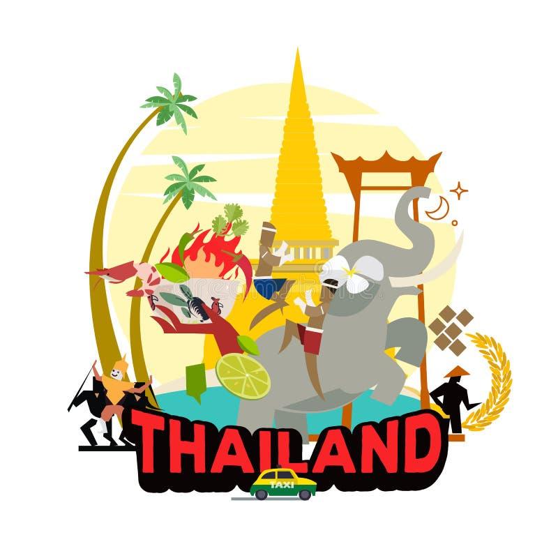 Graficzni elementy dla podróżować w Tajlandia graficzny ustawiający kultura w Tajlandia - wektor obrazy royalty free