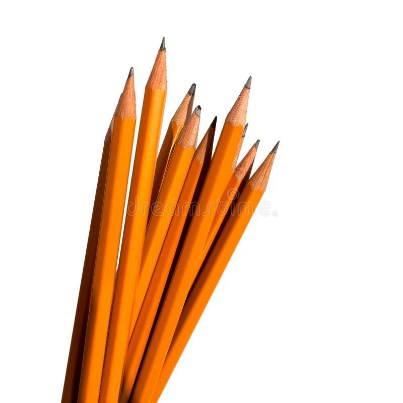 Graficzni ołówki na białym tle w grupa odizolowywającym zakończeniu w górę makro- zdjęcia royalty free