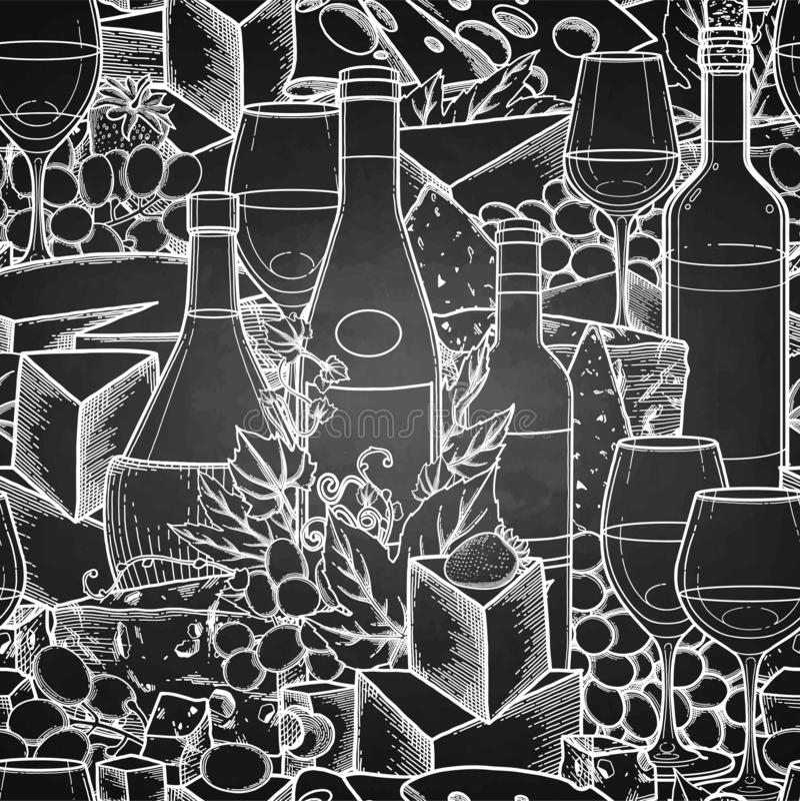 Graficzni szkła wino, butelki, winogrona i ser, ilustracja wektor