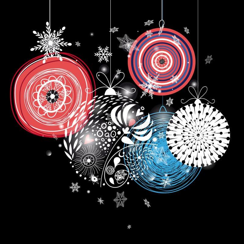 Graficzny świąteczny kartka z pozdrowieniami z Bożenarodzeniowymi piłkami ilustracja wektor