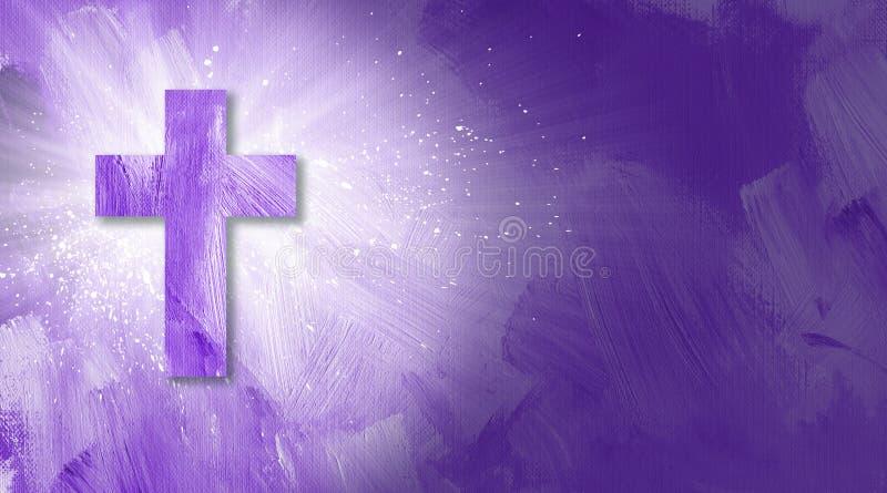 Graficzny chrześcijanina krzyż z abstrakcjonistycznymi promieniami światło w purpurach ilustracja wektor