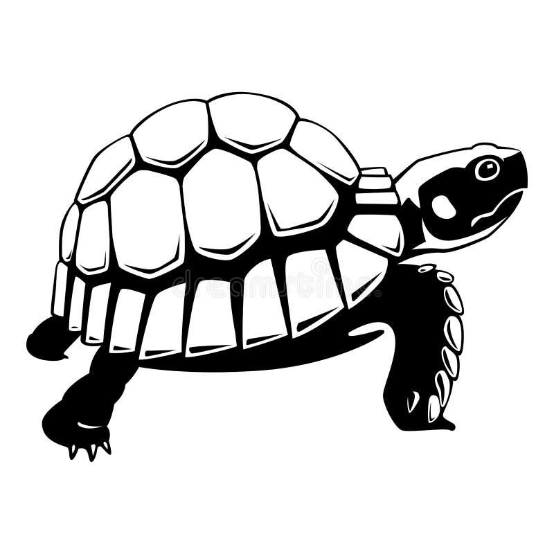 Graficzny czarny żółw na białym tle, wektor ilustracja wektor