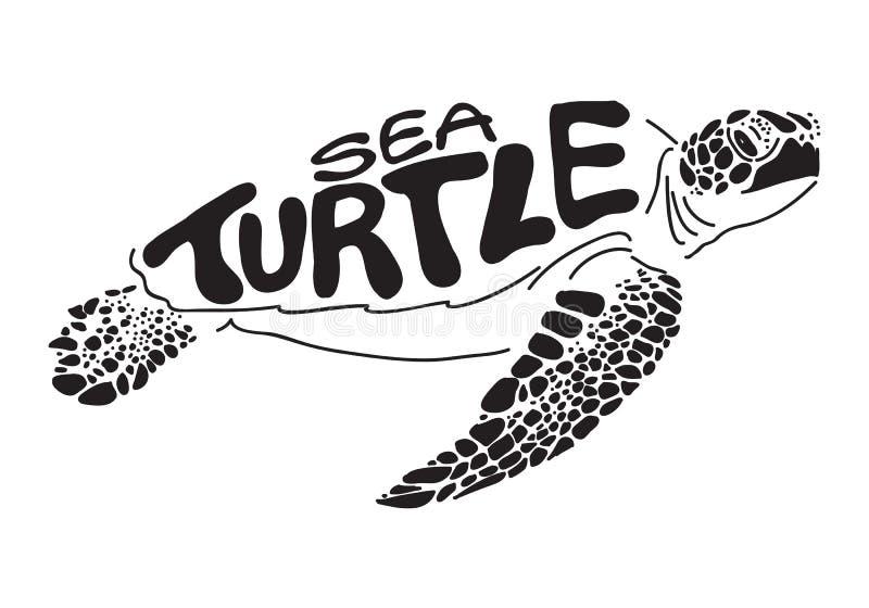 Graficzny denny żółw royalty ilustracja