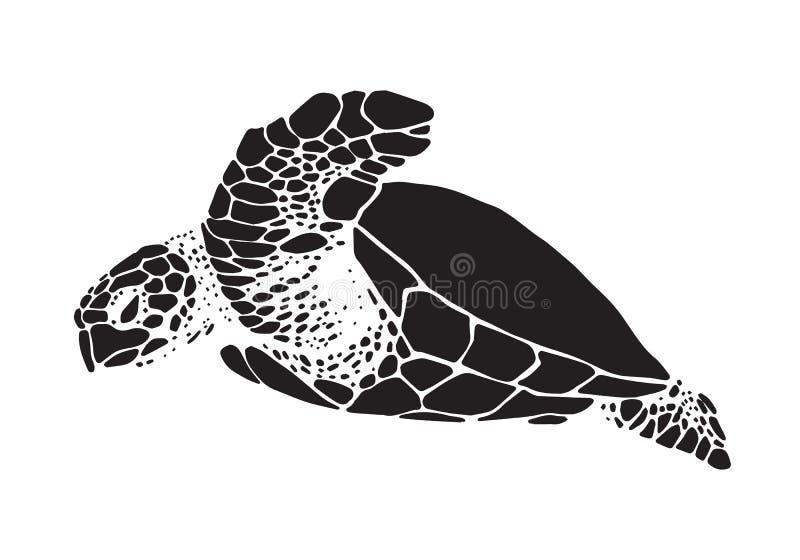 Graficzny denny żółw, wektor royalty ilustracja