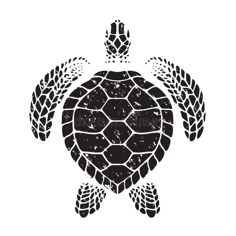 Graficzny denny żółw, wektor ilustracji