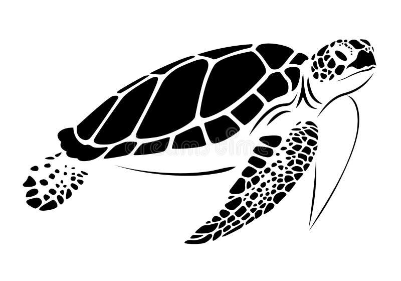 Graficzny denny żółw, wektor ilustracja wektor