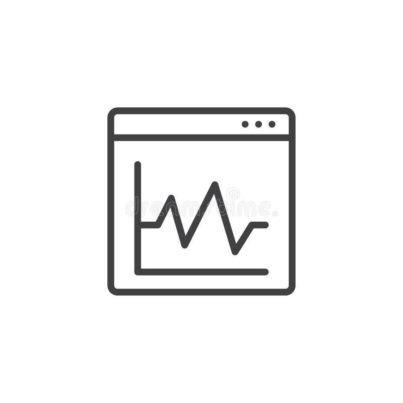 Graficzny diagram na wyszukiwarki okno konturu ikonie ilustracja wektor