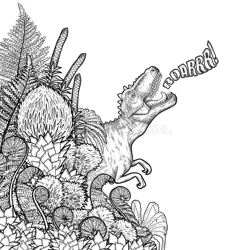 Graficzny dinosaur i prehistoryczne rośliny royalty ilustracja