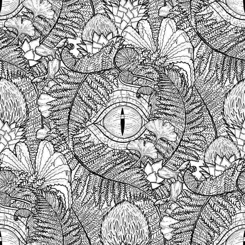 Graficzny dinosaura oko i prehistoryczne rośliny ilustracji
