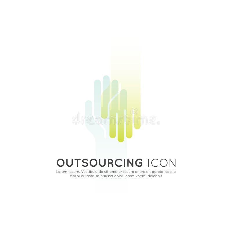 Graficzny element outsourcingu pojęcie z Online siecią ilustracja wektor