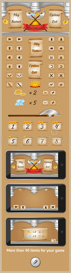 Graficzny interfejs użytkownika dla gier 6 ilustracja wektor