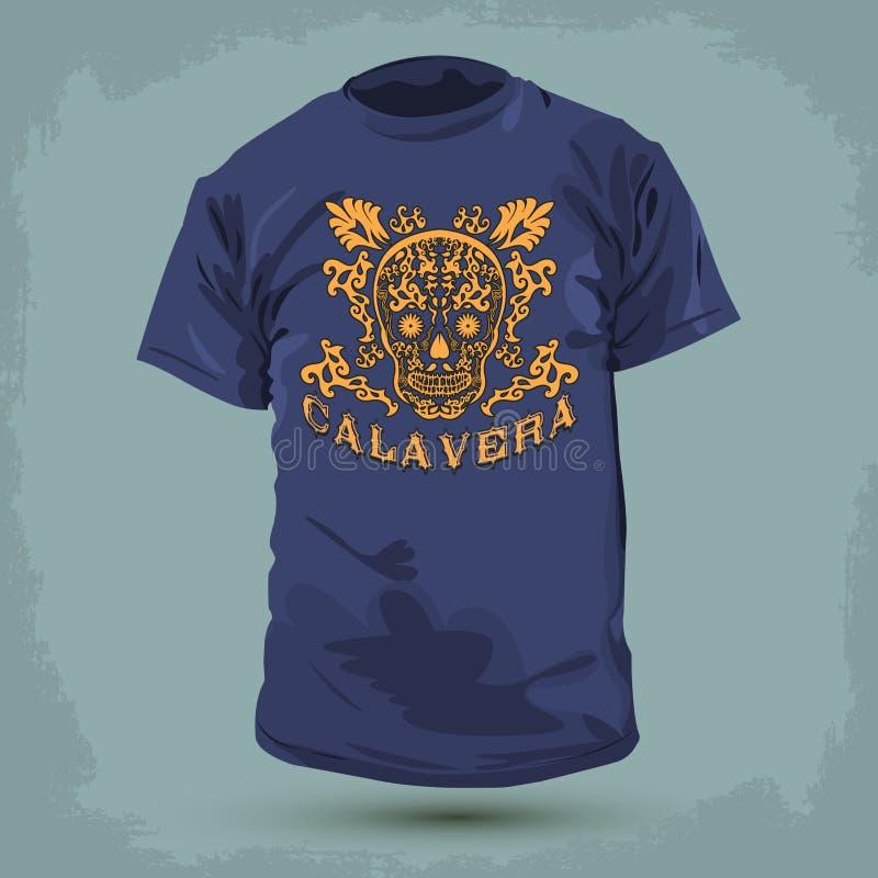 Graficzny koszulka projekt - Calavera royalty ilustracja