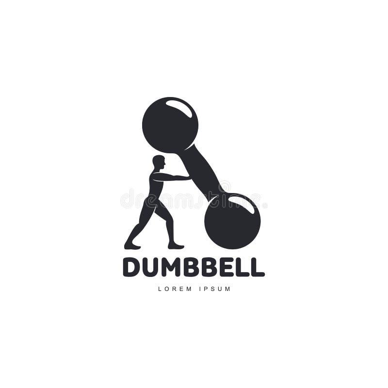 Graficzny loga szablon z bodybuilder mężczyzna wspiera dużego dumbbell ilustracja wektor