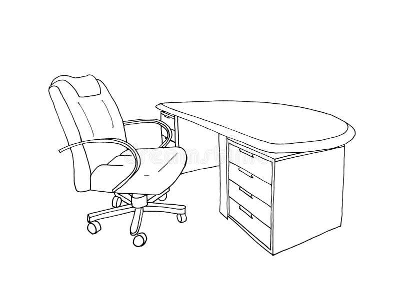 Graficzny nakreślenia kierownictwo, dyrektora biurko i rzemienny krzesło, ilustracji