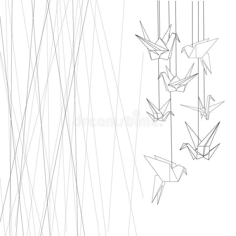 Graficzny origami i linie z przestrzenią dla teksta w czerni ilustracja wektor