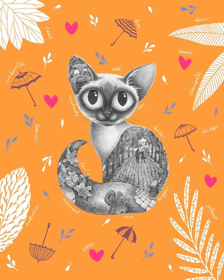 Graficzny piękny kot z jesienią wśrodku royalty ilustracja