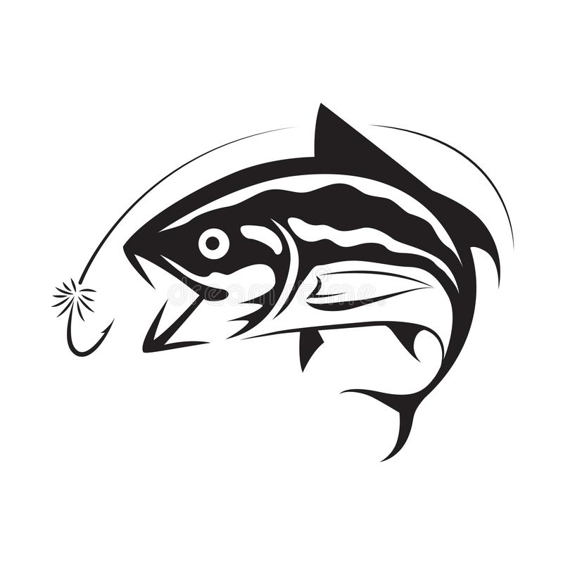 Graficzny połowu tuńczyk, wektor royalty ilustracja
