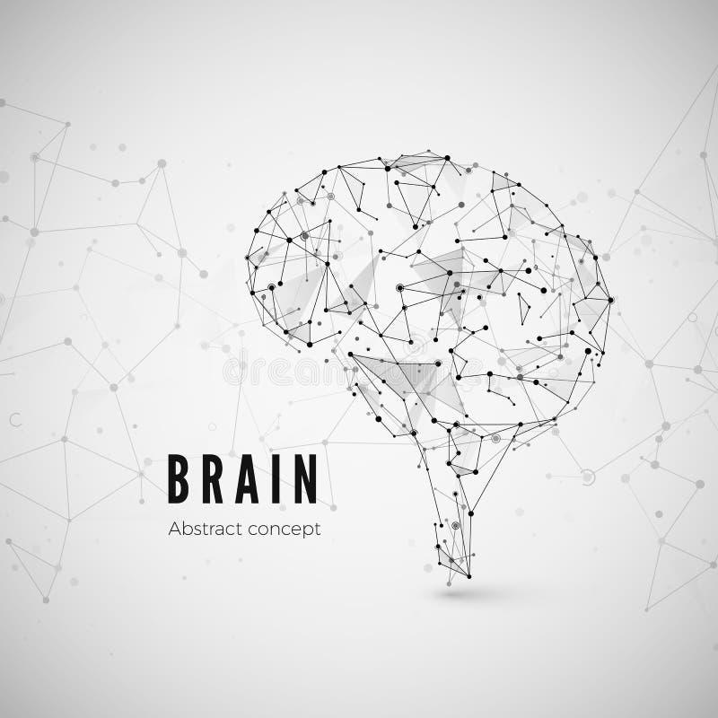 Graficzny pojęcie mózg Technologii i nauki tło z móżdżkową ikoną Mózg komponuje punkty, linie i trójboki, royalty ilustracja