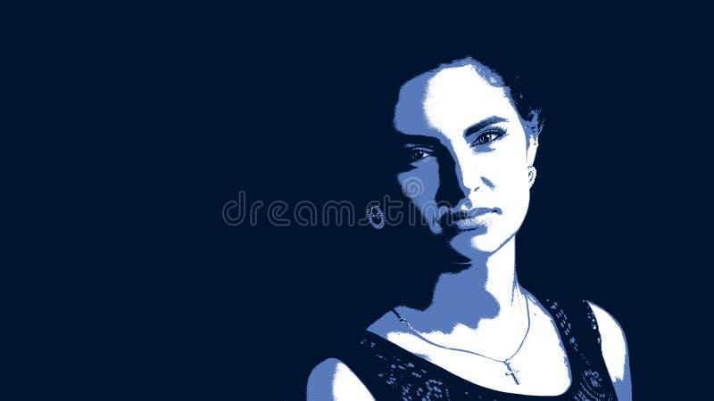 Graficzny portret młoda piękna kobieta ilustracji