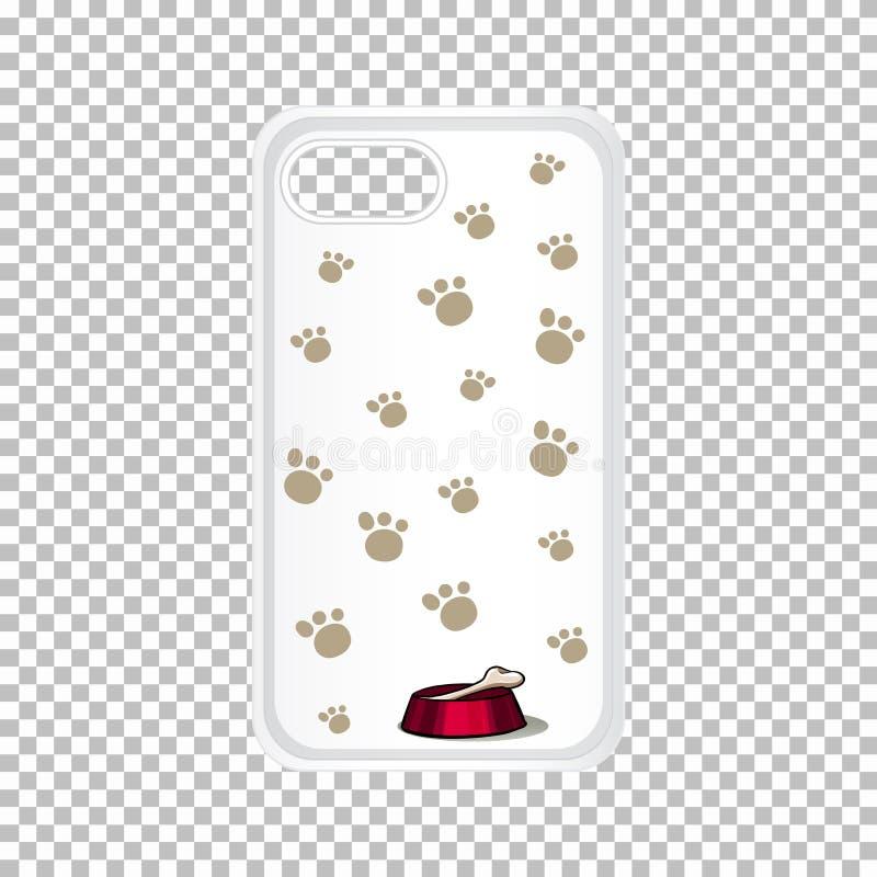 Graficzny projekt na telefon komórkowy skrzynce z psimi odciskami stopymi royalty ilustracja